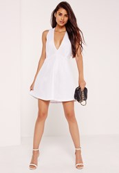 Missguided Plunge Airtex Skater Dress White White