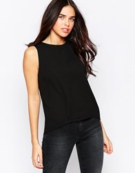 Influence Vest With Lace Insert Black