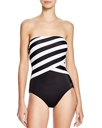 Dkny Iconic Stripe Layered Bandeau One Piece Swimsuit Black
