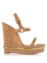 Christian Louboutin Cataclou Embellished 140Mm Wedge Sandals Gold