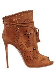 Le Silla 110Mm Perforated Open Toe Suede Boots