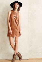 Anthropologie Vegan Leather Shift Dress Brown