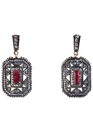 Maha Lozi Silver Ruby Tiny Dancer Earrings Red
