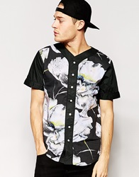Standard Issue Baseball Shirt With All Over Large Floral Sublimation Print Black