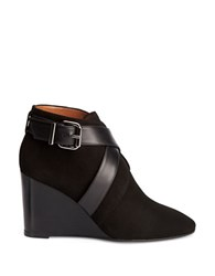 Aquatalia By Marvin K Tillie Suede And Leather Wedge Booties Black