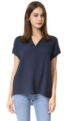 Vince Split Neck Pintuck Blouse Coastal