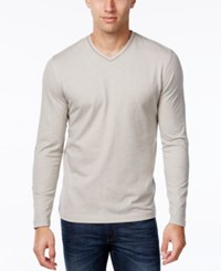 Tasso Elba Men's V Neck Heathered Long Sleeve T Shirt City Taupe