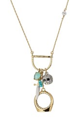 Alexis Bittar Mixed Charm Pendant Necklace Gold