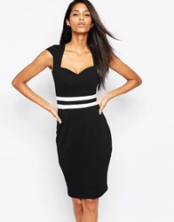 Vesper Evie Dress With Stripe Band Waist Black