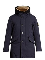 Stone Island Shearling Trim Down Padded Parka Coat Blue