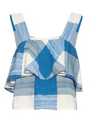 Ace And Jig Frances Ruffled Cotton Top Blue White