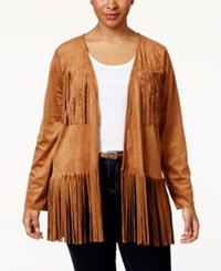 American Rag Plus Size Fringe Faux Suede Jacket Only At Macy's Glazed Ginger
