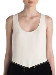 Giorgio Armani Zip Hem Silk And Velvet Blouse Pearl