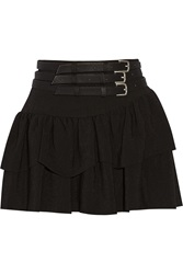 Maje Flux Belted Crepe Mini Skirt Black