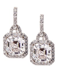 3.5Ct Asscher Cut Cubic Zirconia Earrings Fantasia By Deserio White Gold
