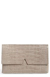 Vince Croc Embossed Leather Clutch Grey Stone