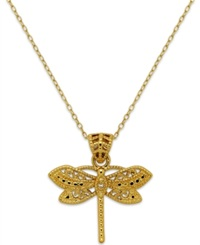 Macy's Filigree Dragonfly Pendant Necklace In 24K Gold Over Sterling Silver Yellow Gold
