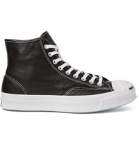 Converse Jack Purcell Signature Leather High Top Sneakers Black