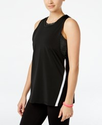 Jessica Simpson The Warm Up Juniors' Layered Sports Bra Tank Top Only At Macy's Jet Black