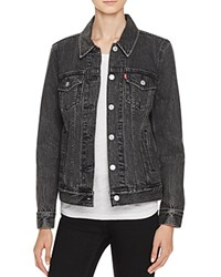 Levi's Boyfriend Denim Trucker Jacket In Mountain Black