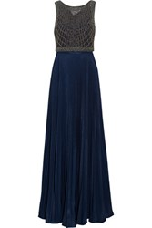 Mikael Aghal Embellished Pleated Tulle And Pleated Crepe Gown Navy
