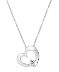 Macy's Diamond Heart Solitaire Pendant Necklace In 14K White Gold 1 10 Ct. T.W.