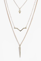 Boohoo Layered Spike And Bar Necklace Gold