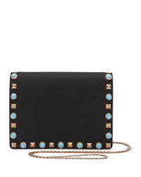 Valentino Rolling Rockstud Flap Pouch Bag Wallet On Chain Black