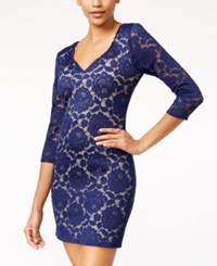 Crystal Doll Juniors' Open Back Lace Bodycon Dress Navy Nude