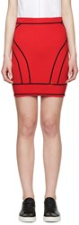 Dsquared Red Knit Curved Panel Skirt