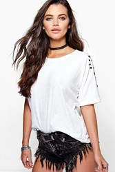 Boohoo Embroidered Sleeve Boxy Shell Top White