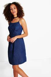 Boohoo Strappy Denim Slim Dress Dark Blue