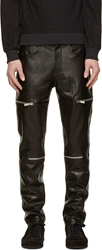 D.Gnak By Kang.D Black Grained Leather Zipped Trousers