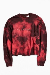 Urban Outfitters Vintage Champion Tie Dye Crew Neck Sweatshirt Red