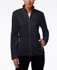 Karen Scott Quilted Zipper Front Jacket Only At Macy's Deep Black