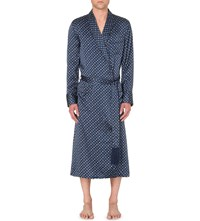 Derek Rose Brindisi Geometric Silk Robe Blue