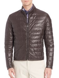 Saks Fifth Avenue Quilted Leather Jacket Brown