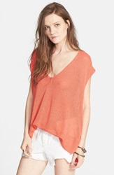 'Easy Tea' Short Sleeve Sweater Persimmon