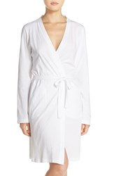 Women's Dkny Stretch Pima Cotton Short Robe White