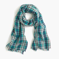 J.Crew Teal Plaid Scarf Chrome Cove