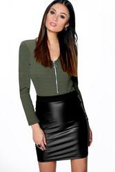 Boohoo Leather Look Bodycon Mini Skirt Black
