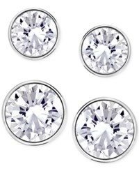 Swarovski Silver Tone 2 Pc. Set Crystal Stud Earrings