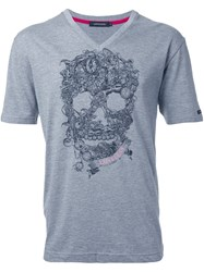 Loveless Skull Print T Shirt Grey