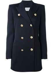 Balmain Pierre Structured Shoulder Military Coat Blue