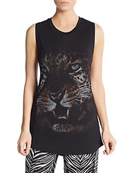 Haute Hippie Cheetah Graphic Muscle Tank Black Grey