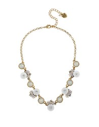 Betsey Johnson Faceted Stone And Flower Necklace White