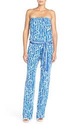 Lilly Pulitzer 'Tia' Strapless Print Woven Jumpsuit Santorini