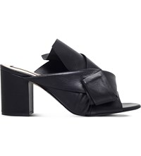No 21 Bow 70 Leather Mule Sandals Black