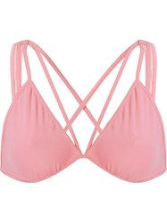 Giuliana Romanno Strap Desing Tulle Bra Pink And Purple