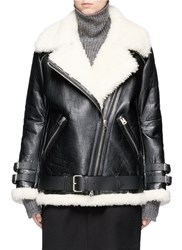 Acne Studios 'Velocite' Crackle Shearling Biker Jacket Black